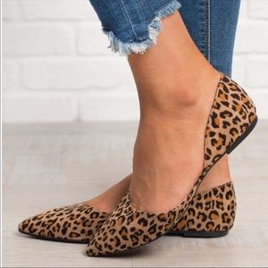Leopard animal prints casual slip on cut out shoes